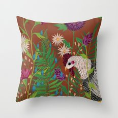 Chicken in the Garden Throw Pillow