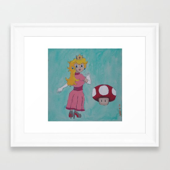 """Red Bottom"" Peach Framed Art Print"