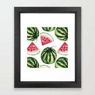 Watermelon Pattern. Framed Art Print