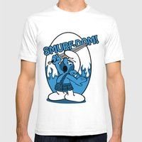 Brave Smurf Mens Fitted Tee White SMALL