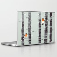 orange Laptop & iPad Skins featuring Robin Trees by Sandra Dieckmann