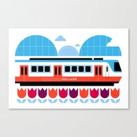 Postcards from Amsterdam / Train and Tulips Canvas Print