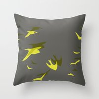 THE FLYING YELLOW Throw Pillow