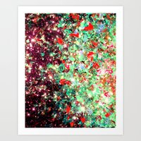 MISTLETOE NEBULA Colorful Festive Christmas Red Green Sparkle Galaxy Ombre Xmas Holidaze Abstract  Art Print