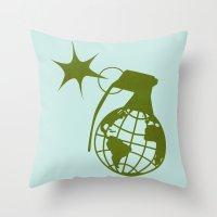 Earth Grenade Throw Pillow