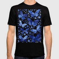 Blue Butterflies Mens Fitted Tee Black SMALL