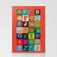 alphabet Stationery Cards featuring Alphabet by Nameless Shame