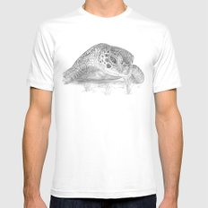 A Green Sea Turtle :: Grayscale SMALL Mens Fitted Tee White