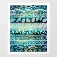 tribal Art Prints featuring Dreamy Tribal Part VIII by Pom Graphic Design