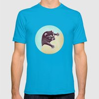 Climbing Raccoon Mens Fitted Tee Teal SMALL