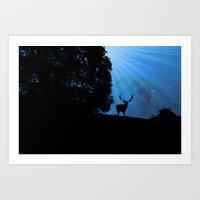 Moon & Deer - JUSTART © Art Print