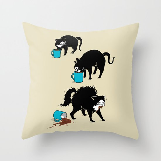 Coffee Cat Throw Pillow