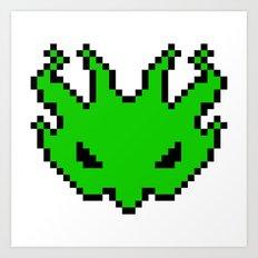 Pixel Invader : Green Art Print