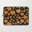 Valentine's | Girly Gold Glitter Cute Love hearts Pattern Black Laptop Sleeve