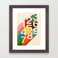 Retro Numbers Framed Art Print