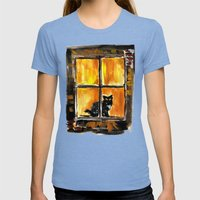 Looking Out The Window Womens Fitted Tee Tri-Blue SMALL