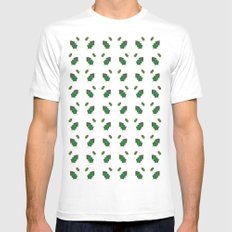 leaf pattern Mens Fitted Tee SMALL White