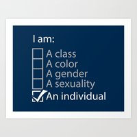 I Am An Individual. Art Print