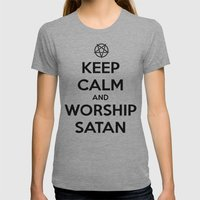 Keep Calm and Worship Satan Womens Fitted Tee Athletic Grey SMALL