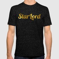 Golden Star Lord Mens Fitted Tee Tri-Black SMALL