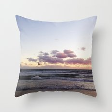 Sunset and Seagull Throw Pillow