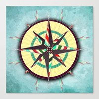 Striped Compass Rose Canvas Print