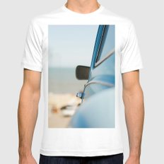 The blue car White SMALL Mens Fitted Tee