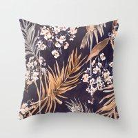 Golden oriental palms Throw Pillow
