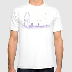 Watercolor landscape illustration_London Eye Mens Fitted Tee White SMALL