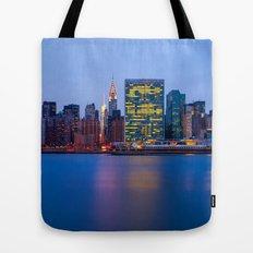 Beginning of the night over Manhattan Tote Bag