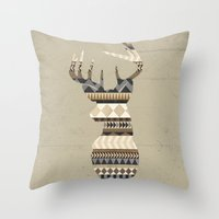 Dusty Stag Head Aztec Pr… Throw Pillow