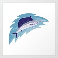 Sailfish Jumping Retro S… Art Print