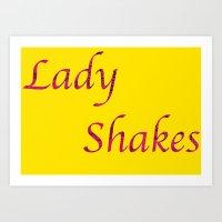 Ladyshakes Yellow Art Print