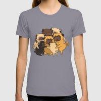 Pugs Group Hug Womens Fitted Tee Slate SMALL