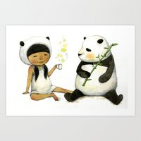 Tea Time With Panda  Art Print