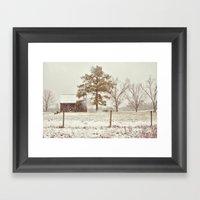 Snowy Farm Framed Art Print