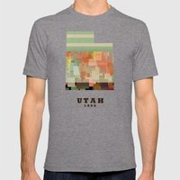 Utah State Map Modern Mens Fitted Tee Tri-Grey SMALL