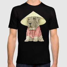 Shar Pei on the Great Wall SMALL Mens Fitted Tee Black