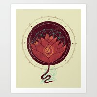 Red Lotus Art Print