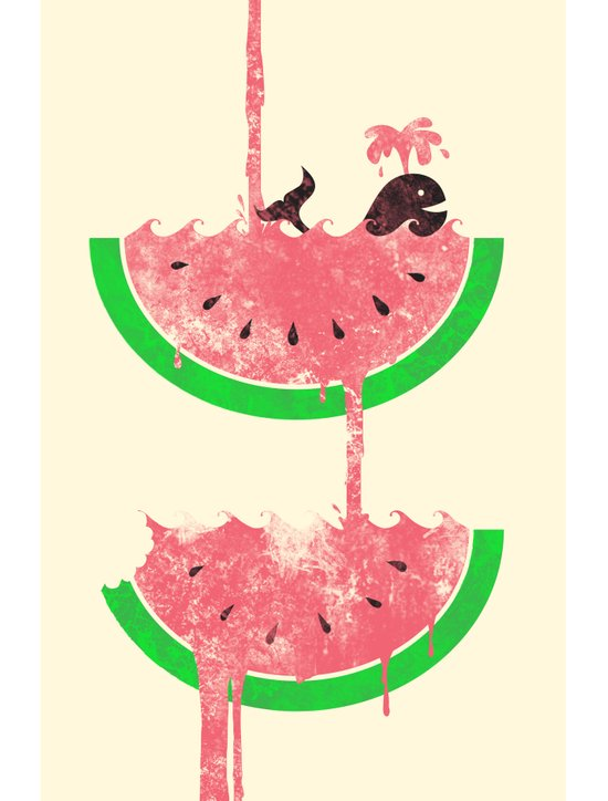 watermelon falls Art Print