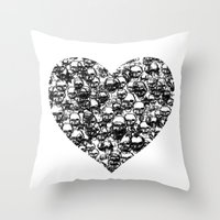 Skull Black Heart Throw Pillow