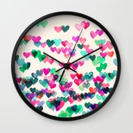Wall Clock featuring Heart Connections II - W… by Micklyn