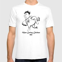 Man Eating Chicken 002 Mens Fitted Tee White SMALL