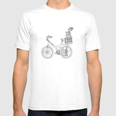 Bicycle SMALL Mens Fitted Tee White