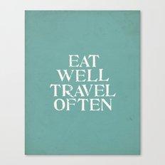 Eat Well Travel Often Blue Canvas Print