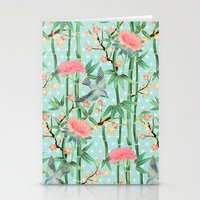 Bamboo, Birds and Blossom - soft blue green Stationery Cards