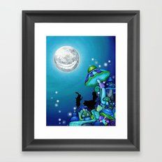 Alice in Wonderland and Cheshire Cat Framed Art Print