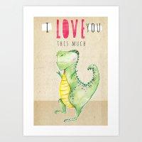 Dino Love Art Print