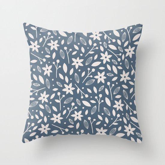 Winter Bloom - in Navy Throw Pillow