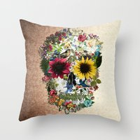 Skull flower Throw Pillow